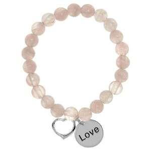 Rose Quartz LOVE + Heart Charm Stretch Bracelet SkyeSterling Jewelry