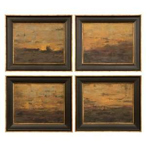 Set of 4,Contemporary Oil Art Painting,Colorful Sunset Home & Kitchen