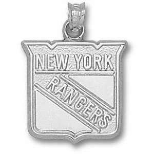 New York Rangers Sterling Silver Shield Logo 5/8 Pendant