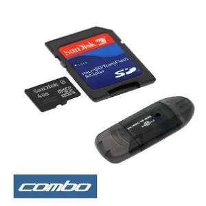 Sandisk 4GB Microsd Card with Adapter + Black USB Memory Card Reader