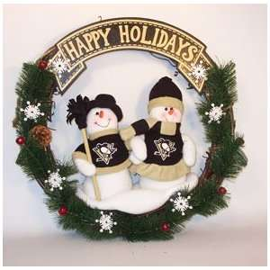 Pittsburgh Penguins NHL Holiday Snowman CHRISTMAS WREATH New