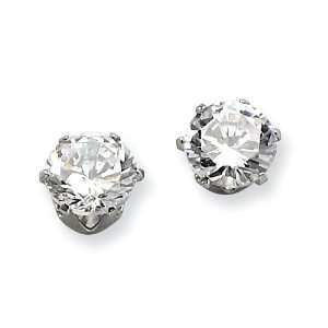 Stainless Steel 7mm Cz Stud Earrings Chisel Jewelry