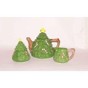 Ceramic Christmas Tree Teapot, Sugar Bowl and Creamer