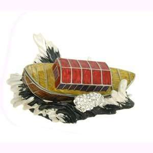 Gold Plated Swarovski Crystal Enamel Pirate Ship Keepsake Box (1 3/4