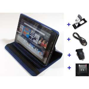 Premium Leather Kindle Fire Case Bundle (Leather Case + Car Charger