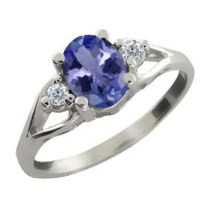 1.22 Ct Oval Blue Tanzanite and White Diamond 18k White