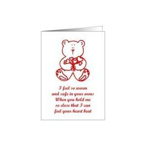 Happy Valentines Day with teddy bear holding love heart