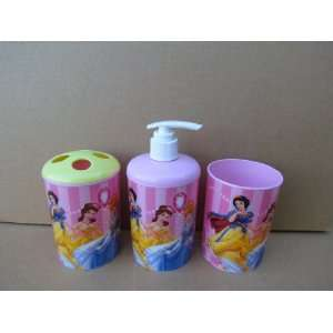 Disney Princess 3 Piece Bathroom Accessories Set   Toothbrush Holder
