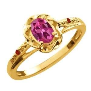 52 Ct Oval Pink Tourmaline Red Garnet 14K Yellow Gold Ring Jewelry