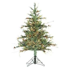 Pine w/Cone Christmas Tree w/150 Lights in Metal Stand