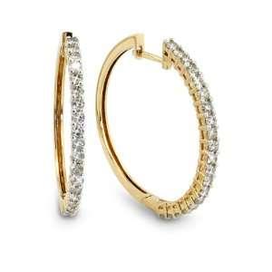 14k Yellow Gold Diamond Hoop Earrings (1 1/10 cttw, J K Color, I2