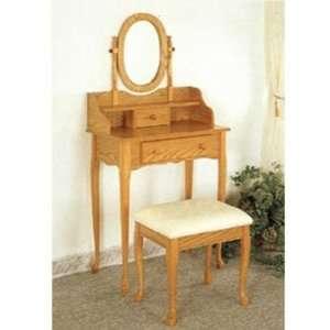 Oak Finish Wood Vanity Table Stool/Bench & Mirror Set