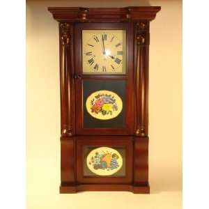 Sligh Wall Clock Cherry Wood Case with Reverse Painted Glass Keywind