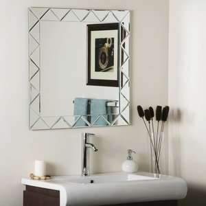 Wonderland SSM530 Luciano   Square Frameless Wall Mirror, Etched Glass