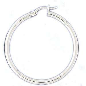 14kt White Gold 3mm Hoop Earrings Jewelry