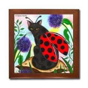 Ladybug Black Fairy Cat Ceramic Wood Tile Box CHX25BX By Carrie Hawks