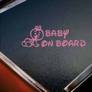 Baby On Board (Girl) Pink Decal Car Truck Window Pink