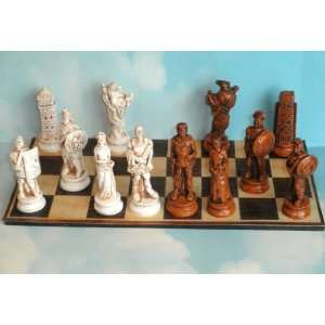 Roman Vs Greek Chess Set (Maple/Ivory) Toys & Games