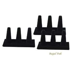 Regal Pak Three Piece Black Velvet 3 Finger Ring Stand 4 7/8 X 2 1/4
