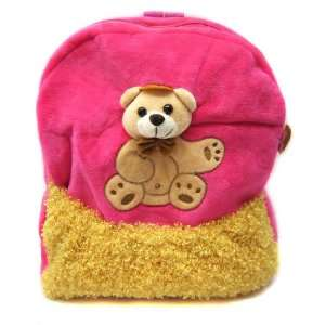 Cute Teddy Bear plush Pink & Yellow Baby backpack Toys