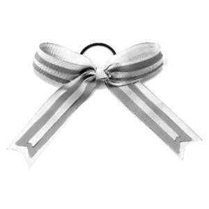 Cheerleaders Hype Hair Bows WH/SM/WH   WHITE/SILVER METALLIC/WHITE
