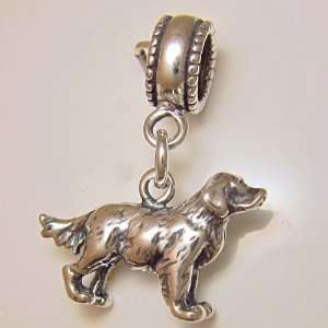 Golden Retriever Dog Sterling Silver Dangle Bead