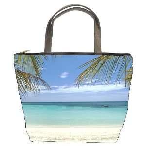 Sunset Sun Ocean Bucket Bag Leather Purse Handbag (Double Side Photo