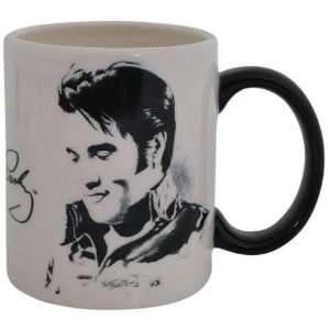 75 Inch Elvis Presley Art On Black And White Collectible Mug
