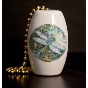 Dragonflies and Lillies Porcelain Fan / Light Pull Home