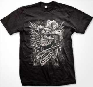Outlaw Cowboy Skull With Pistols Mens T shirt, Skull Guns