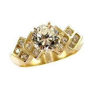 14k Yellow Gold, Engagement Lady Ring Round Brilliant