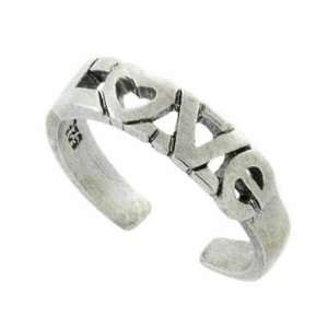The 60s Sterling Silver Heart Love Toe Ring Jewelry