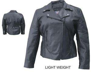 WOMENS BLACK LAMBSKIN LEATHER MOTORCYCLE BIKER JACKET