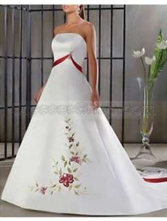 2010 Sexy New White&Red Embroidery Simply Elegant Wedding Dress Bridal