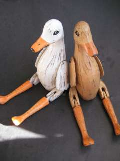 Wooden Duck Bird Puppet   Wood Farm Animal Statue   Set of 2   Size L