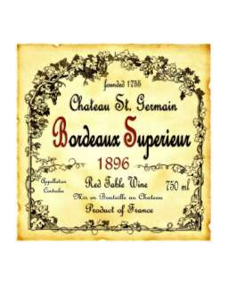 Bordeaux Wine Label Giclee Print at Art