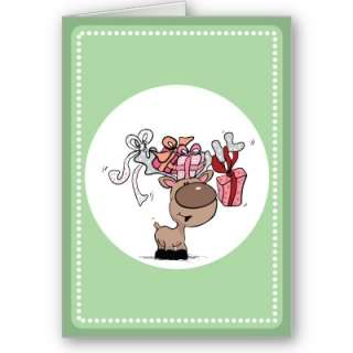 Reindeer With Gift Boxes Card from Zazzle