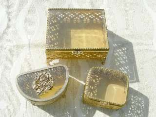 ANTIQUE VINTAGE GLAS BRIDAL JEWELRY BOXES LOT OF 3 BOXES # 48122