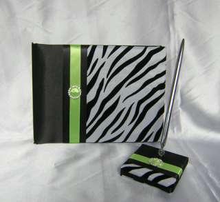 Zebra Print Wedding Card Box Quinceanera Sweet Sixteen Guest Book Pen