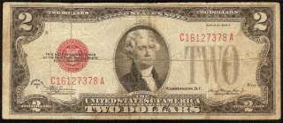 1928 D $2 DOLLAR BILL MULE NOTE UNITED STATES LEGAL TENDER RED SEAL Fr