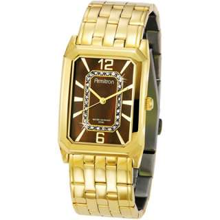 Armitron Mens Gold Plated Dress Watch, Swarovski Crystal Accented
