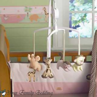 Baby Girl Jungle Monkey Safari Crib Nursery Bedding Set