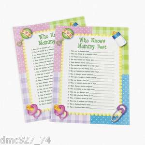 24 Baby Shower Party Game WHO KNOWS MOMMY BEST   NEW