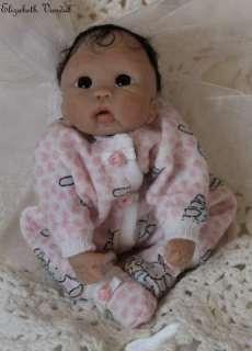 sculpt ooak polymer clay baby girl art doll by Elizabeth Vandal