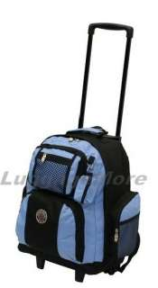 NEW 18 BLACK ROLLING WHEELED BACKPACK/ BOOKBAG