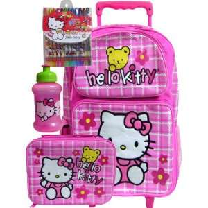 School Hello Kitty Pink Rolling Backpack Matching Lunch