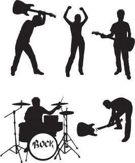 Group of 5 Die Cut ROCK BAND Wall Mural Sticker Decals