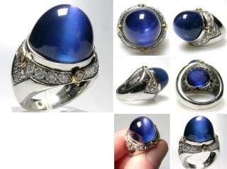 Natural Burma Blue Star Sapphire & Diamond Ring Solid Platinum AGTA