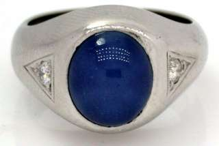 10 Ct DIAMOND & Blue STAR SAPPHIRE Mens Ring 14K WG