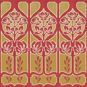 Flower Border Red/Gold Wallpaper Border by Blue Mountain in Shand Kydd